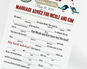 Wedding Advice Cards // Bridal Shower Advice Cards // PDF FILE Print Yourself Colors, Names are Customizable // Fun and Hilarious Game