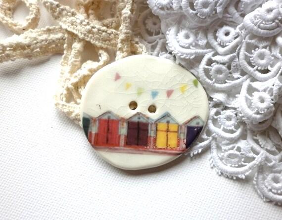 Life's a Beach, An Extra Large Handmade Porcelain Sew On Button