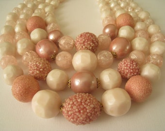 Vintage Large Pink and White Beaded Necklace - Western Germany