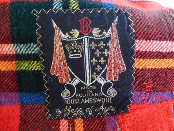 Vintage Plaid Wool Tartan Stewart Plaid Made in Scottland Begg of Ayr 100 Percent Lambswool