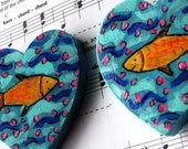 Fish Love, hand-painted wooden heart magnets (Set of 2)