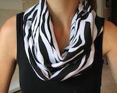 Black and White Zebra Print Infinity Scarf
