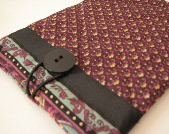 Quilted E reader sleeve Case, Merlot
