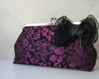 Handmade Purple and Black Dragon  Clutch, Convertible with Chain Strap and Bow clip