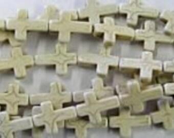 10  White Cross Beads