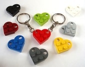 Heart Keychains - Handmade with LEGO(r) plates