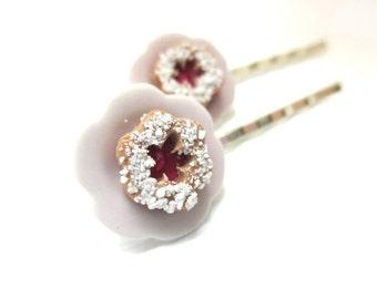 Linzer Cookie Bobby Pin, Miniature Food Jewelry, Polymer Clay Food Jewelry