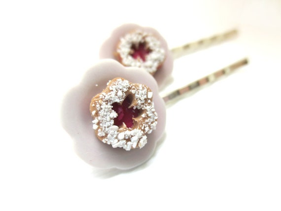 Linzer Cookie Bobby Pin, Miniature Food Jewelry, Polymer Clay Food Jewelry