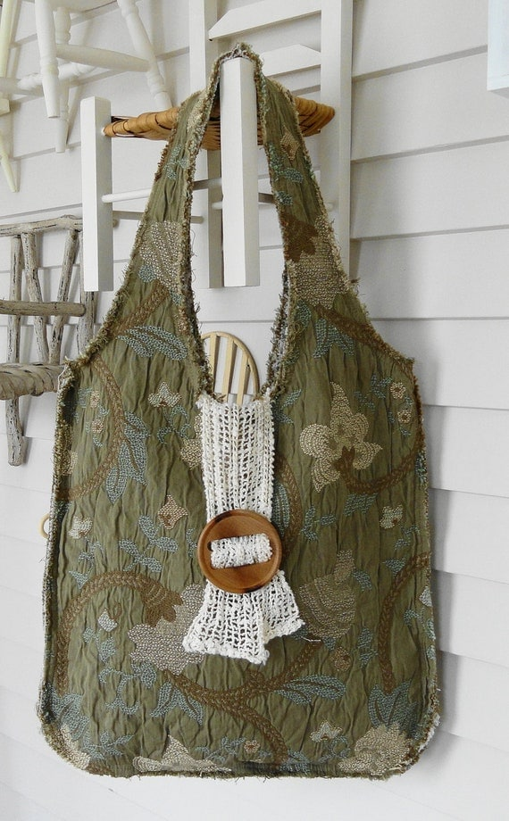 Frayed Textured Tote Bag or Purse with Paisley Lining