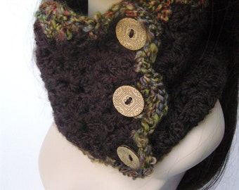 Womens Cowl with Buttons Neckwarmer Scarf Crochet Cowl Knit Cowl Thick Cowl Thick Scarf Warm  Espresso Green, Purple, Burgungy MADE TO ORDER