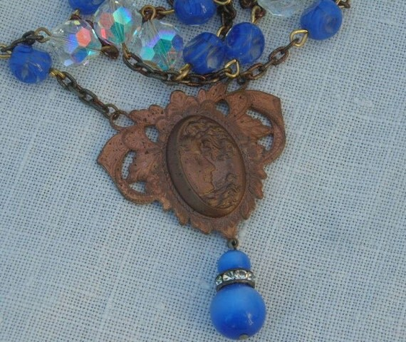 Art Nouveau Necklace Woman Child Cameo  Vintage Blue Crystal Swirl Glass Beads Repurposed Jewelry