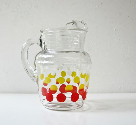 Glass Pitcher with Polkadots - Vintage Charm