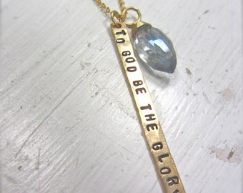 "Inspiring Jewelry - Gold Bar Necklace ""To God Be The Glory"""