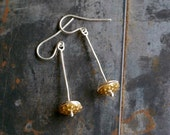 Golden Pods Dangle Earrings, Woodland, Wedding, Minimalist, Modern, Nature Jewelry, Christmas Gift, Gift For Wife
