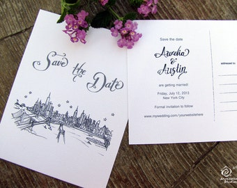 Scripted Save the Date Wedding - (100) City Skyline Postcards - A2 sized (4.25 x 5.5)