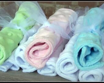 Baby Wash Cloths--SALE  Minky dot wash cloth trio