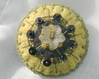 Felt Pin - Flower Brooch -  Olive Green, Mustard,  Black