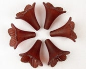 Acrylic Bead 6 Trumpet Flower Frosted Morning Glory Bugle Root Beer Brown 23mm x 21mm (1018luc23-12)