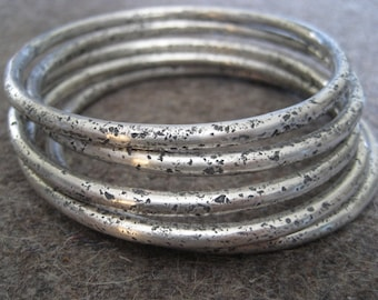 Chunky Wabi Sabi/Sterling Silver Bangle Bracelet