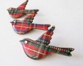 Tartan-Birdie-Brosche mit Swarovski-Kristall-Augen