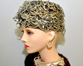 Vintage 60s / 20s Sequin Flapper Gatsby Cloche Hat / One size fit all