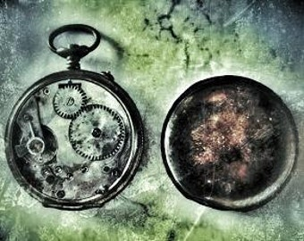 Back in Time - Visionary Surreal Watch Photography, Contemporary, Modern wall art, office, home decor,vintage style,green,antique,texture