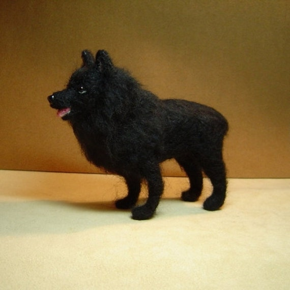 Schipperke Custom Dog realism needle felted pet portrait