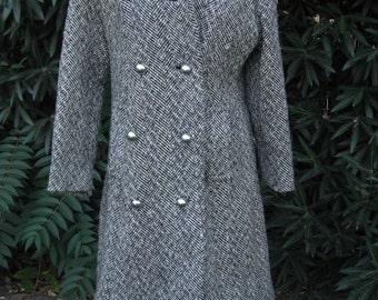 Vintage 50s/1960s Black and White Tweed Winter Coat