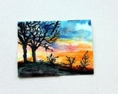 Sunset Original ACEO Watercolor