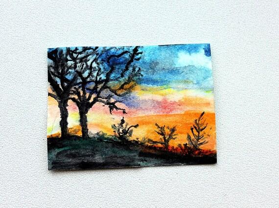 Sunset Original ACEO Watercolor
