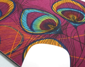 Buy 2 FREE SHIPPING Special!!   Mouse Pad, Computer Mouse Pad, Fabric Mousepad           Peacock Feathers on Mulberry