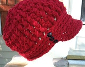 Brick Red Crocheted ribbed newsboy hat with thick band