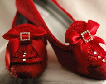 Special Size 12 - Marie Antoinette Extra Ruffle Red Pumps