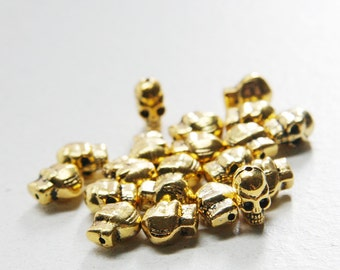 20pcs Oxidized Gold Tone Base Metal Spacers-Skull 10x7mm (1795Y-J-66)