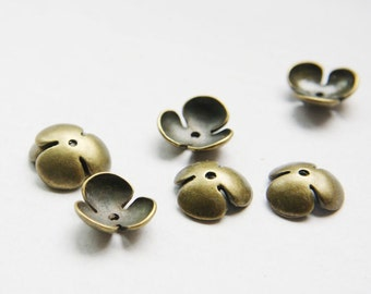 16pcs Antique Brass Tone Base Metal Caps-14x5mm (26461Y-O-35B)
