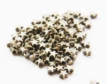 120pcs Antique Brass Tone Base Metal Spacers - Star 5mm (1418Y-P-35B)