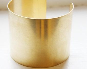 One Piece Brass Cuff Bracelets Flat Band 2 Inch Wide (351C-I-189)