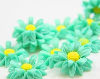 6pcs Acrylic Flower Cabochons- Turquoise 22mm (46F13)