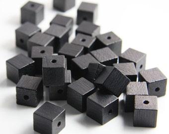 20pcs Wood Beads - Square - Cube - Black 10mm