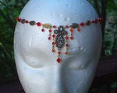 Fire Opal and Red Siam Swarovski Crystal Circlet Necklace, Bridal, Renaissance, Belly Dance