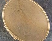 Brass Oval Photo Locket with 40mm x 30mm Setting Insert  - 1 Piece
