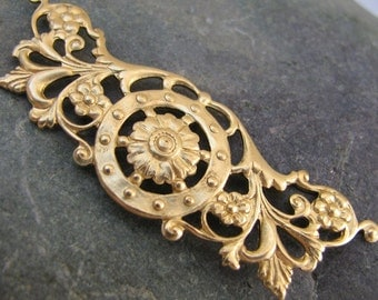 Steampunk Pendant Connector Link for Necklace Brass Metal Stamping 1417 - 3 pieces