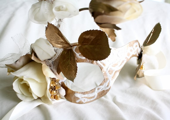 Angharad - Asymmetrical Fairy Mask in Gold and Cream Roses