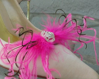 Wedding Bridal Party Peacock  Pink Ostrich Feather Shoe Clips Set Of Two 8 Center Rhinestones To Choose From