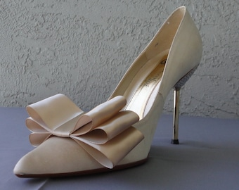 Beige Nude Satin Ribbon Bow Shoe Clips Set Of Two, More Colors Available