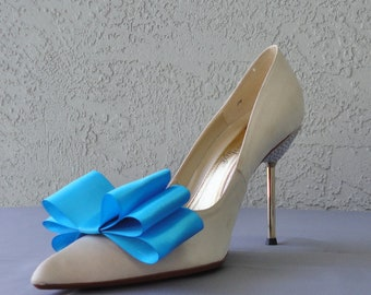 Sky Blue Satin Ribbon Bow Shoe Clips Set Of Two, More Colors Available