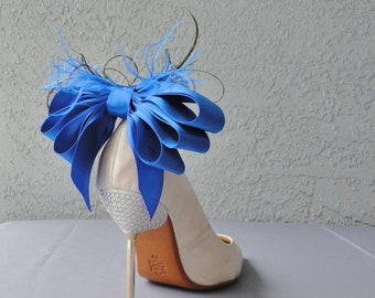 Royal Blue Bridal Shoe Clips Satin Ribbon Bow And Feather
