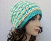Stripe Slouchy Crochet Hat - Womens Slouch Beanie in Turquoise and Cream - Oversized Cap - Fall Winter Fashion Accessories