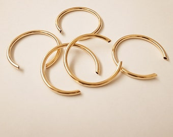 8 pieces of vintage cut raw brass tube 3/4 circle 40mm across  with new plating in gold color
