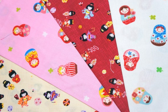 Japanese Fabric Scraps Matryoshka and Little Girls in Kimono Print set of 4 pcs SL23